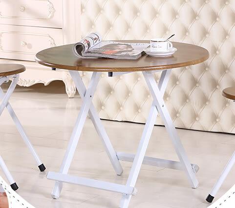 圓形折疊餐桌家用折疊桌便攜簡易吃飯桌子小戶型圓桌小書桌子宜家 58*55cm