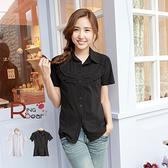 襯衫--時尚OL專屬胸前壓折半圓荷葉造型設計短袖襯衫(白.黑S-3L)-H162眼圈熊中大尺碼