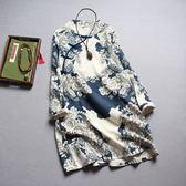 大尺碼洋裝 中國風印花 棉麻連身裙 長袖袍子 打底裙子 降價兩天