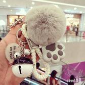 鑰匙圈 韓版創意可愛毛絨鑰匙扣女 高檔獺兔毛球汽車鑰匙鏈包包掛件女士 LN3581【Sweet家居】