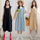 現貨-MIUSTAR 無印風!隱形大口袋排釦斜紋洋裝(共4色)【NJ1033】