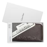 Calvin Klein 荔枝皮革壓印LOGO拉鍊長夾(咖啡色-含帕巾)103046-1