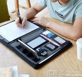 文件夾 a4多功能文件夾商務銷售資料夾經理夾皮質會議夾帶充電 玩趣3C