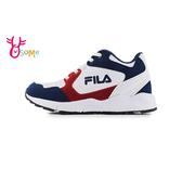 FILA 中大童 成人女款 LOGO潮鞋 緩震慢跑鞋 高筒 足弓 機能升級 運動鞋 P7662#白藍◆OSOME奧森鞋業