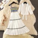 兩件式洋裝 很仙的洋氣網紅套裝裙女202...
