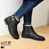 靴子 荔枝紋皮革車縫短靴- 山打努SANDARU【3298018#46】
