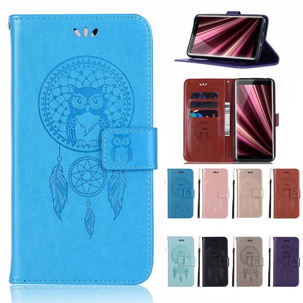 SONY Xperia10Plus Xperia10 手機皮套 貓頭鷹風鈴 插卡 支架 磁扣 可掛繩 防摔 內軟殼 壓紋皮套 手機殼