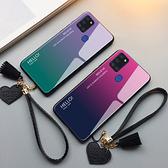 三星 Galaxy A21s 手機殼 玻璃鏡面防摔保護套 漸變時尚 全包手機套 保護殼 愛心手繩