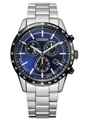 【台南 時代鐘錶 CITIZEN】星辰 光動能萬年曆 三眼計時腕錶 BL5496-96L 藍 39.5mm