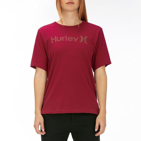HURLEY|女 W OAO PT OVERSIZED CREW SS BLACK/(CRIMSON TINT) T恤