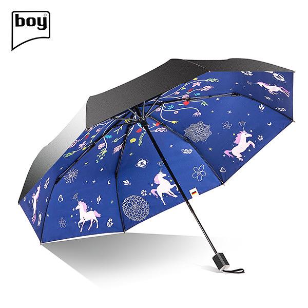 【德國boy】超強防曬-超輕防潑水快乾黑膠三折傘(幻獸)
