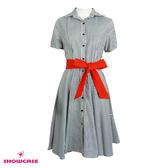 【SHOWCASE】襯衫式修身條紋綁帶洋裝(灰色)