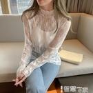 蕾絲打底衫 蕾絲打底衫女秋冬季新款白色長袖內搭T恤網紗寬鬆上衣 智慧e家 新品
