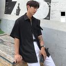 短袖襯衫 韓版撞色車線 口袋素面襯衫 寬鬆五分袖襯衫 現貨+預購 【PA20955】Doppler