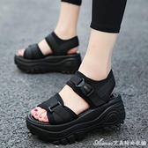 厚底涼鞋厚底涼鞋女夏季新款坡跟鬆糕運動羅馬涼鞋百搭學生搖搖鞋子 快速出貨