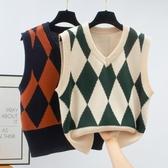 針織馬甲 秋冬新款韓版復古菱格V領無袖針織背心學院風馬甲毛衣女學生外穿
