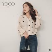 東京著衣【YOCO】微透V領點點花朵羽毛造型縮袖上衣(191379)