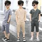 男童套裝男童夏裝套裝新款洋氣棉麻童裝中大童兒童韓版純棉短袖兩件套 快速出貨