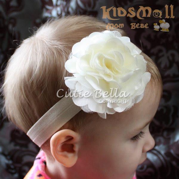 Cutie Bella彈性絲蕾絲茶花髮帶-Cream