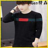 毛衣-圓領毛衣男士加絨加厚針織衫青年長袖T恤 艾尚精品