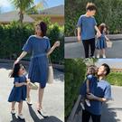 親子裝 法式親子裝2021新款潮夏裝洋氣海邊夏天母女裝洋裝一家三四五口