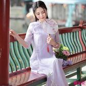 新款復古繡花公主范中長開叉改良旗袍連身裙兩件套