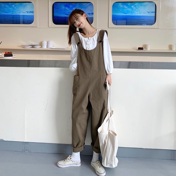 吊帶褲女韓版寬鬆2020新款秋季洋氣學生可愛百搭減齡工裝褲子潮 【雙十二狂歡】