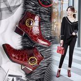 丁果、大尺碼女鞋34-43►歐美明星款大扣帶環亮麗鏡面漆皮中跟馬丁靴短靴*3色