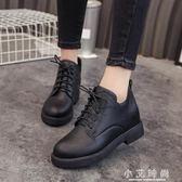 女鞋平底粗跟短靴女英倫風百搭復古繫帶馬丁靴女靴 小艾時尚