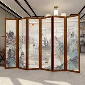 中式實木屏風隔斷墻客廳折疊移動裝飾辦公室半透明紗茶室餐廳酒店