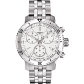 TISSOT 天梭 PRS200系列三眼計時手錶-白/42mm T0674171103101