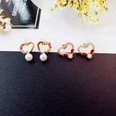 ~NiNi Me ~韓系耳環氣質甜美鏤空愛心水鑽鋯石珍珠925 銀針韓系耳環N0250