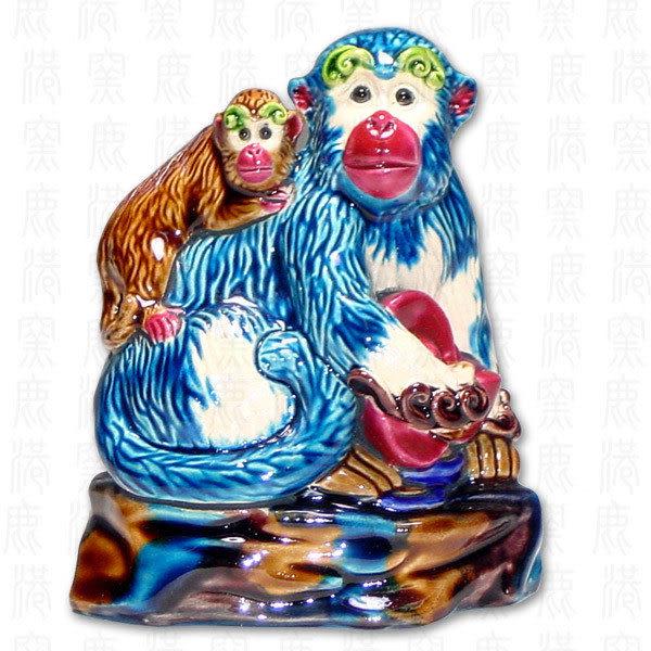 鹿港窯-居家開運商品-台灣國寶交趾陶S十二生肖文鎮-猴◆附精美包裝◆免運費送到家