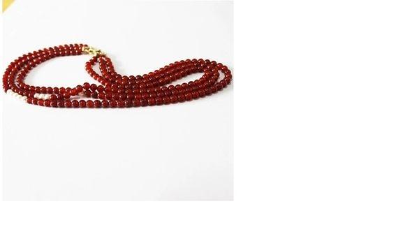 阜新純天然紅瑪瑙三圈女士項鍊