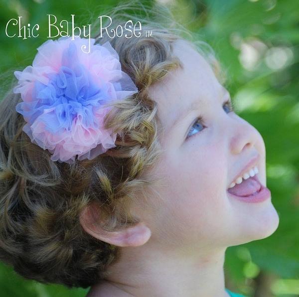 【美國Chic Baby Rose】髮夾 / 造型髮飾 - 雪紡玫瑰花雙色小公主髮夾 (共5色) 美國手工製造