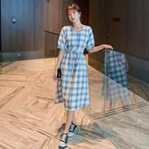 洋裝 短袖格子襯衫連身裙女夏季長款仙女超仙森系法式長裙復古裙子DB603A紅粉佳人