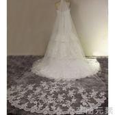 新款韓式婚紗頭紗新娘復古車骨蕾絲頭紗   至簡元素