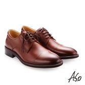 A.S.O 職人通勤 綁帶蠟感小牛皮紳士鞋 茶色