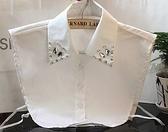 假領子襯衫穿搭領片 寶石韓版 手工寶石洋裝針織大學T毛衣內搭預購黑色白色[E1034]朵曼堤洋行