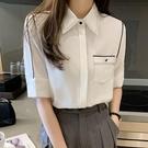 短袖 女士襯衫短袖設計感小眾春夏新款氣質職業裝襯衣時尚中袖上衣
