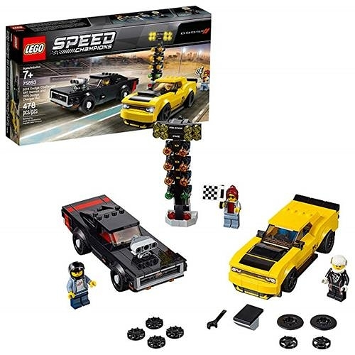 LEGO 樂高 Speed Champions 2018 Dodge Challenger SRT Demon and 1970 Dodge Charger R/T 75893 Building Kit (478 Piece)