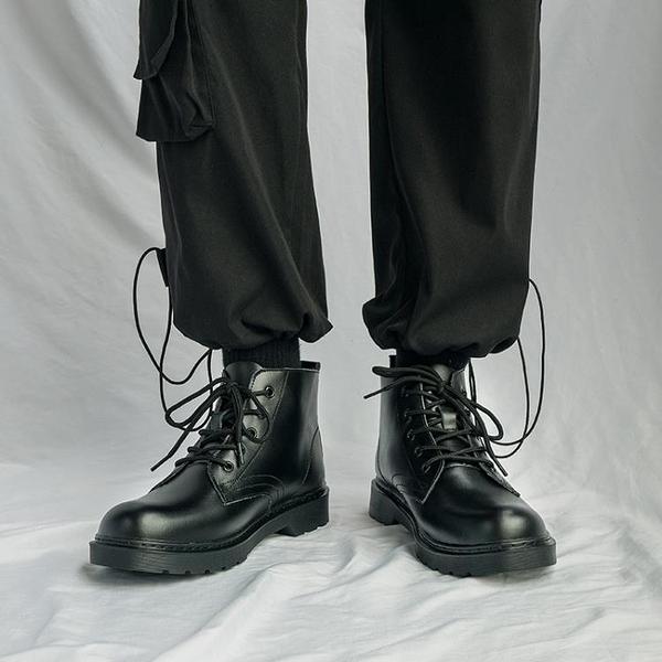 馬丁靴男款 ins真皮馬丁靴男高幫黑色百搭英倫工裝網紅情侶中幫帥氣機車靴子