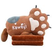 午睡毯 可愛熊掌抱枕被子兩用靠墊長條枕頭辦公室午休枕頭毯子汽車空調被【韓國時尚週】