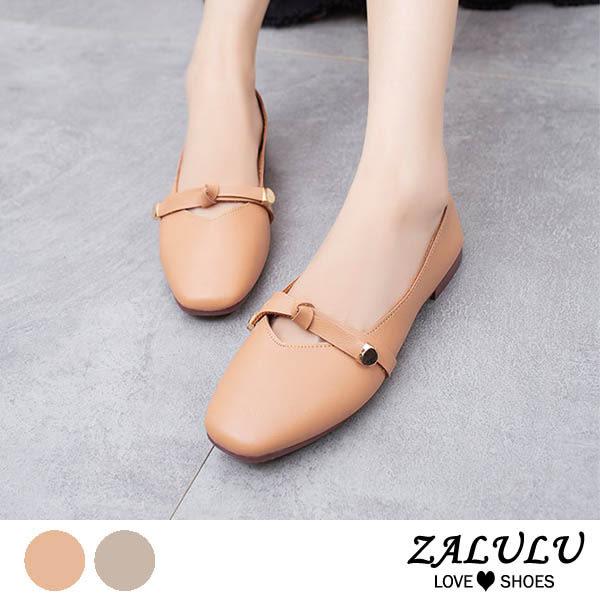 ZALULU愛鞋館 8GE281 預購 細緻皮革橫綁帶淡彩輕盈圓頭包鞋-米/香檳-35-40