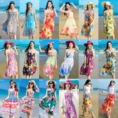 沙滩裙女新款海边度假2019夏装雪纺中长款显瘦抹胸波西米亚连衣裙『艾麗花園』