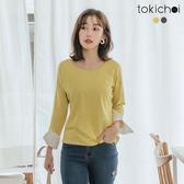 東京著衣-tokichoi-經典百搭條紋拼接襯衫袖上衣-S.M.L(172491)