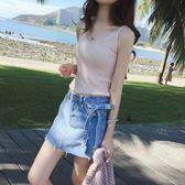 夏季休閒無袖白色冰絲針織吊帶小背心女打底內搭短款修身t恤上衣夢想巴士