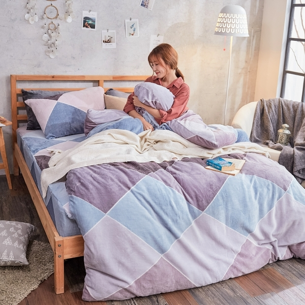 法蘭絨 / 雙人【波希米亞】含兩件枕套  鋪棉床包薄被毯組  戀家小舖AAR215