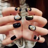 黑色風 鉚丁光療甲方頭假指甲可穿戴指尖