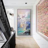 抽象風景油畫裝飾畫客廳簡約現代玄關走廊掛畫手繪大幅山水聚寶盆WY 滿兩件八折 明天結束!